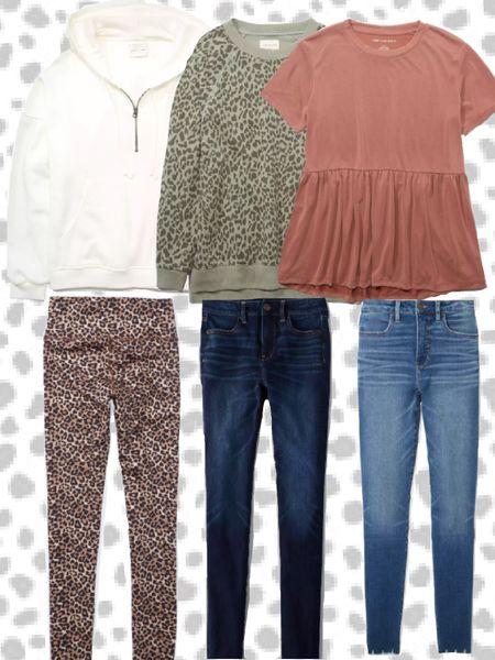 Back to School Outfits / Fall Outfits from American Eagle! Quarter zip hoodie, leopard print leggings, high waisted denim, soft sweaters, basic peplum tee.   http://liketk.it/2U4lw #liketkit @liketoknow.it #LTKunder50 #LTKbst #LTKfall