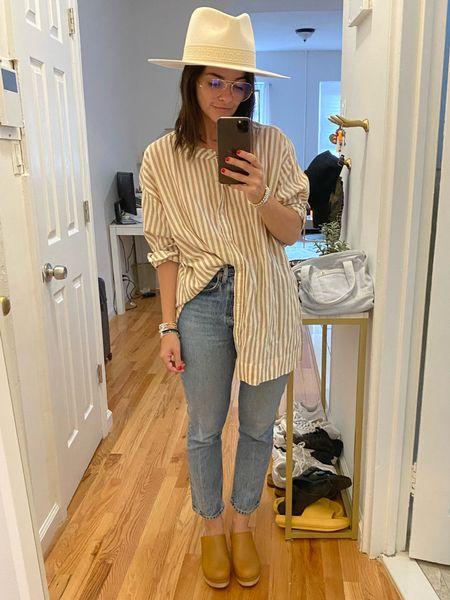 Fall transitional outfit Button down Stripes Neutrals Neutral stripe Clogs Shoes    #LTKstyletip #LTKunder100 #LTKshoecrush
