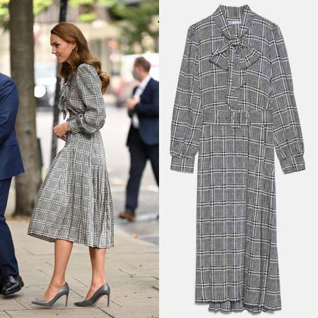 Kate wearing Zara #midi #plaid #work   #LTKeurope #LTKstyletip