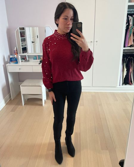 Holiday outfit idea: this is another casual one that you can throw on and go, but it looks a little dressier thanks to the pearls! This pearl embellished red sweater goes perfectly with black jeans and black booties. http://liketk.it/33mk8 #liketkit @liketoknow.it #LTKshoecrush #LTKsalealert #LTKunder50