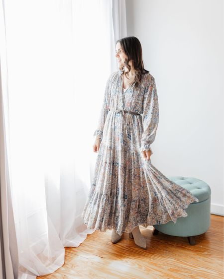 Free People floral maxi dress - perfect to transition and wear right into Fall   #LTKSeasonal #LTKstyletip