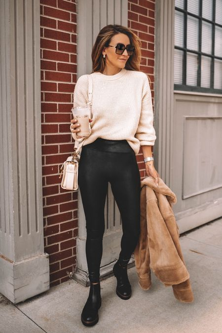 Cutest cream color sweater is under $29 wearing size small - teddy jacket is currently on sale 40% off spanx leggings and booties under $100 - Fall outfits  Fall fashion - teacher outfit ideas   #LTKshoecrush #LTKsalealert
