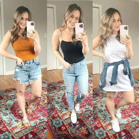 Target must haves for spring! These jean shorts are the best and only $15, this bodysuit is the perfect everyday bodysuit and also comes in white and this shirt dress is so cute and only $10! Also linked my white mules, white sneakers, mom jeans, target sandals and jean jacket http://liketk.it/3ds9c #liketkit @liketoknow.it #LTKshoecrush #LTKsalealert #LTKunder50