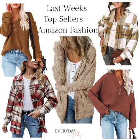 Amazon fall fashion - Last week sellers from my blog and social channels! Fall Shackets were a top seller! This cozy cardigan and the sweaters are perfect for fall! Fall style • fall outfits • fall fashion • shacket • cardigan • sweaters • sweater weather   #LTKunder50 #LTKstyletip #LTKsalealert