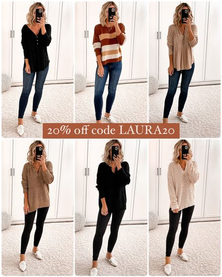 20% off pink lily Henley tops size small Sweaters size small Jeans size 1 Black leggings size s White mules size 7  #laurabeverlin  #LTKsalealert #LTKunder50 #LTKunder100