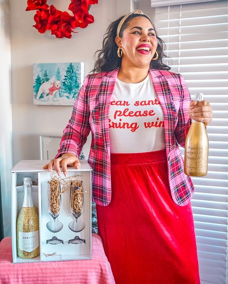 This pink tartan blazer paired with my Wine Style Shop t-shirt, red velour skirt and gold lurex headband are a holiday style dream 🥰🎄✨  Size up in the blazer, skirt is true to size! Shop my holiday t-shirt at www.winestyleshop.com and the rest of my outfit details here: http://liketk.it/33hUw @liketoknow.it #liketkit #ltkholidaystyle #holidaystyle #tartan #blazer #holiday #maxiskirt #pinkblazer #pink #StayHomeWithLTK #LTKgiftspo #LTKstyletip