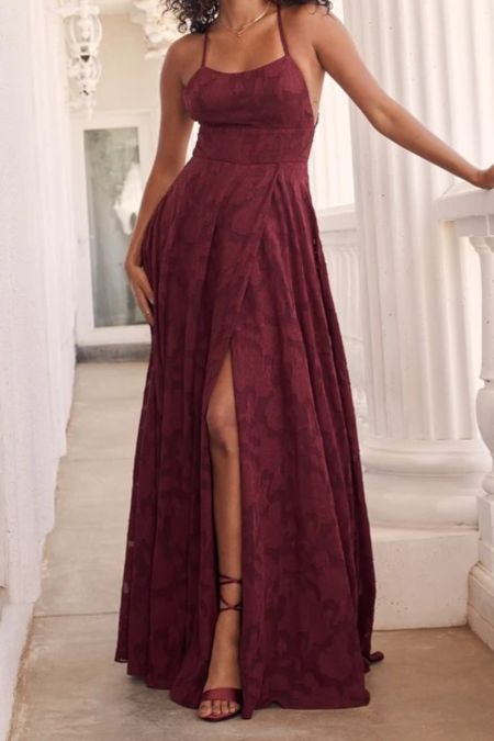 Let There Be Romance Burgundy Burnout Floral Maxi Dress   Lulus Exclusive! You're going to love how you look in the Lulus Let There Be Romance Burgundy Burnout Floral Maxi Dress! Lightweight woven chiffon, with a burnout floral design throughout, shapes this dress that has crisscrossing adjustable straps, a straight neckline, and a princess-seamed bodice. A banded waist tops an overlapping maxi skirt. Hidden back zipper/clasp.   Lulus, lulus finds, wedding guest, fall wedding guest, fall outfits, autumn, autumn outfits, fall, outfi ideas, fashion finds, fall fashion,