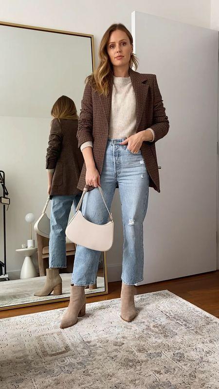 Levi's ribcage jeans, fit true to size  Mango blazer run slightly small, size up  Mark Fisher booties fit true to size  Mango beige coat, I am wearing a small  #LTKstyletip #LTKSeasonal