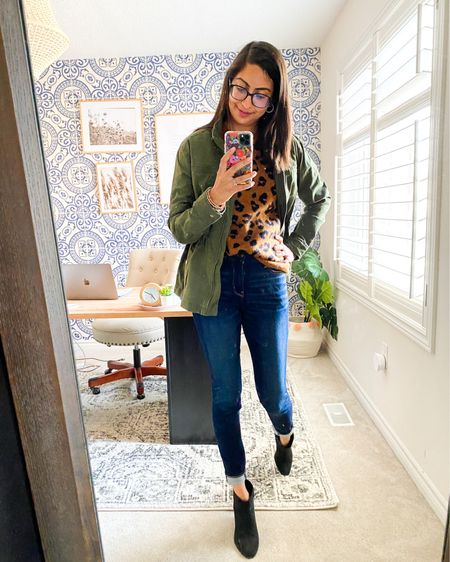 This outfit screams fall! An animal print sweater (wearing medium!), with my favourite mom-pooch-ducking denim, and a green utility jacket. I dig this look so much!  . .  http://liketk.it/2Xn8V #liketkit @liketoknow.it