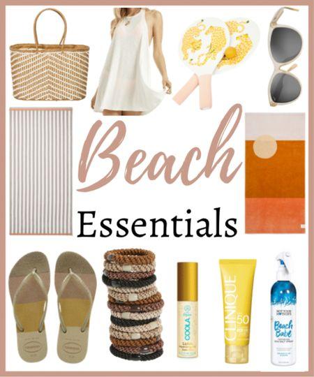 Beach essentials! Everything you need for your next beach trip!  🏖🏖🏖🏖🏖🏖  Beach day, beach trip, bag, straw bag, beach bag, swim coverup, beach cover up, beach games, sunglasses, summer, summer style, towel, beach towel, flip flops, hair ties, sunscreen, face sunscreen, lip sunscreen, beach hair  #LTKswim #LTKSeasonal #LTKtravel