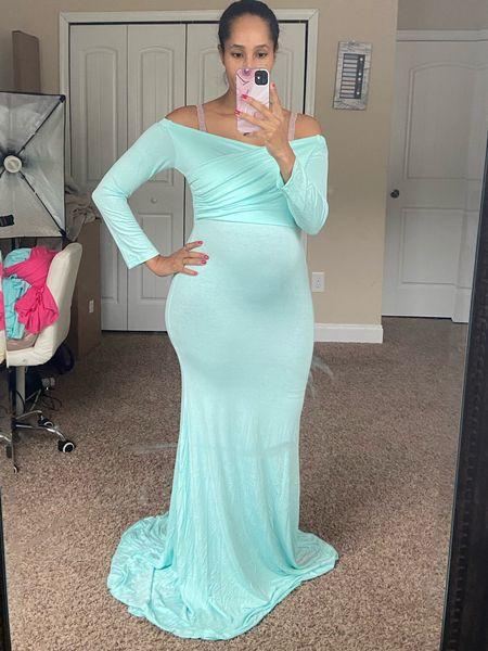 Loved the mint green color of the maternity dress!   #LTKunder50 #LTKbaby #LTKbump