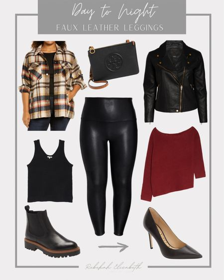 Day to night #ootd ft. faux leather leggings | the perfect fall & winter staple for your closet! Pair during the day with a black sweater tank, plaid shacket and combat boots and transition to night by swapping out for a sweater, leather jacket and black heels #rebekahelizstyle   #LTKSeasonal #LTKHoliday #LTKstyletip