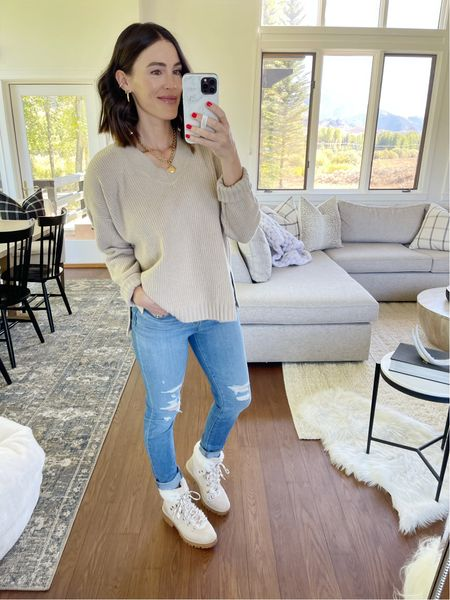 F A S H I O N \ Sweater weather has arrived! This neutral beauty is on $24!! Wearing a M. All about #fall fashion and I know y'all are too!🍁🍂  #walmart #walmartfashion #walmartfind #sweater #booties #fallfashion #falloutfit  #LTKunder50 #LTKSeasonal