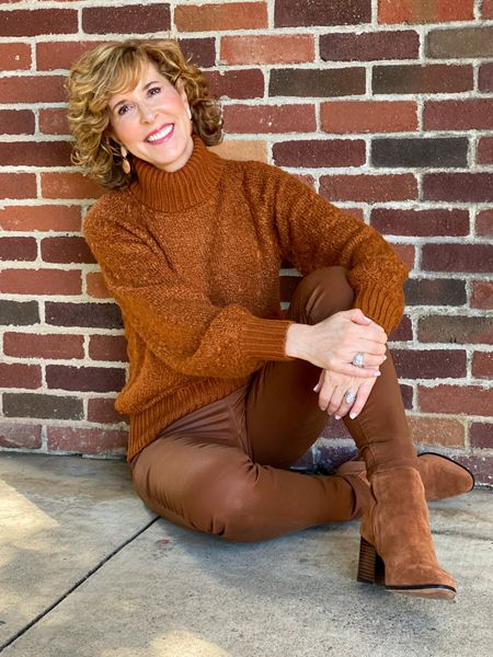 Fall outfit, Monochromatic outfit, brown sweater, Target sweater, turtleneck sweater, coated jeans, WHBM jeans, brown booties, suede booties, rounded toe booties  Who said black is the best for monochromatic looks? Not me! I love this all brown look for fall!  #LTKSeasonal #LTKsalealert #LTKshoecrush