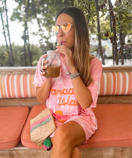 Island style— perfect comfortable vacation outfit. Oversized graphic T and cute sunglasses! #ltktravel #sunglasses #shirtdress #vacationstyle  #LTKunder50 #LTKstyletip #LTKtravel