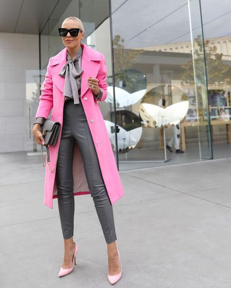 POP of color. Fall style. Pink coat. Faux leather grey leggings    #LTKunder100 #LTKsalealert #LTKSeasonal