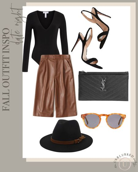 Make date night more fun with these adorable leather culottes from Abercrombie! http://liketk.it/2ZQvp #liketkit @liketoknow.it #LTKunder100 #LTKstyletip #LTKsalealert fall outfits women, bodysuit, leather pants, vegan leather, felt hat, fall fashion, fall outfit ideas