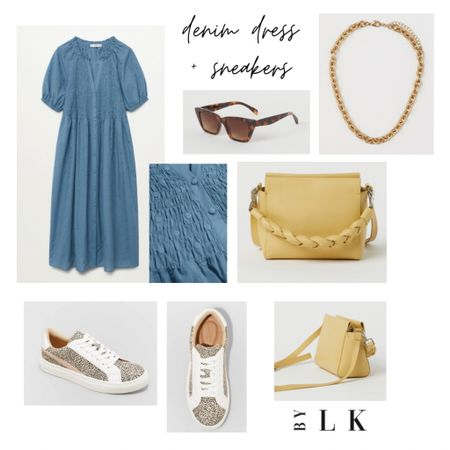 Denim Dress & Sneakers   #target #mango  Love the pop of color with the yellow cross body bag, it brings out the animal print in the sneakers   @liketoknow.it #liketkit #LTKshoecrush #LTKitbag http://liketk.it/3f819 #LTKstyletip