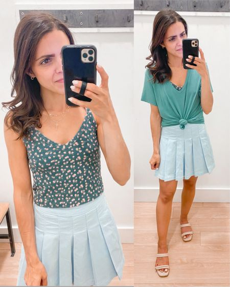 American Eagle try on // floral cropped cami (xs), high waisted tennis skirt (tts), soft & sexy stretchy tee (xs) http://liketk.it/3hF8f #liketkit @liketoknow.it #LTKstyletip