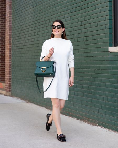 An ivory sweater dress and chain loafers from the Nordstrom Anniversary Sale with a green Ferragamo bag and Celine sunglasses #nsale  #LTKstyletip #LTKitbag #LTKsalealert