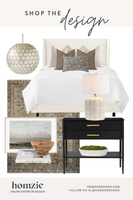 Modern classic bedroom design, bedroom ideas, bedroom decor, master bedroom, table lamp, nightstand, area rug, pendant light, headboard, bed, bedding, throw pillows, modern coastal, edesign  . Receive your own custom stoppable e-design at homziedesigns.com  #LTKhome