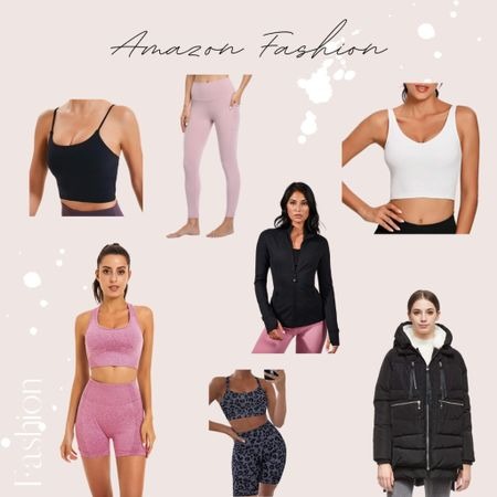 The best workout items from Amazon! So many affordable finds that are great gym go-to's. | amazon, amazon fashion, workout, workout clothes, legging, jacket, coat, winter coat, sets, workout set, crop tops, sports bra |  #LTKNewYear #LTKfit #LTKunder50