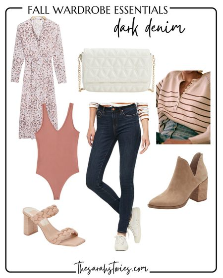 FALL ESSENTIALS: DARK WASH DENIM // a few ways to wear your dark jeans for Fall! Fit tts. Outfit idea, Jeans outfit   #LTKstyletip #LTKSeasonal