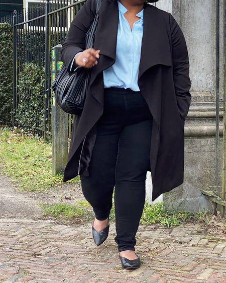 Plus-size black trenchcoat, blue linen shirt, satin shirt, plus-size black jeans, pointed loafers, big black bag, Ray-ban gold round sunglasses #plussize http://liketk.it/3ezPR #liketkit @liketoknow.it #LTKcurves #LTKunder50 #LTKstyletip @liketoknow.it.europe