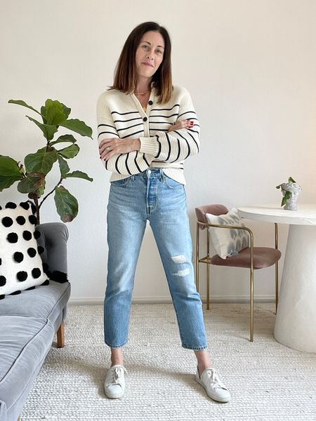 Styling white Freda d'Orsay Eda's (size down 1/2, wide toe) use code CONNI15 for 15% off  Jeans - levis 501 cropped straight leg  Sweater is @alexmill true to size   #LTKstyletip #LTKbacktoschool #LTKSeasonal