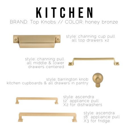 Linking what I can of our kitchen & pantry cabinet hardware.  I've provided enough info you should be able to find what we have from a top knobs retailer    Top knobs, honey bronze, brass, cabinet hardware, cup pull, barrington, Channing   #LTKhome #LTKunder50