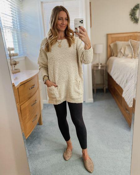 Bouclee knit sweater, black leggings, cheetah mules  http://liketk.it/31fm2 #liketkit @liketoknow.it #LTKunder50 #LTKshoecrush #LTKstyletip