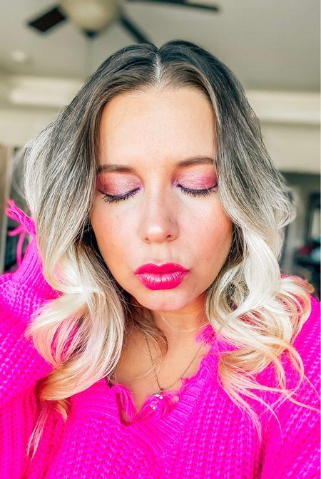 Pretty in pink for an easy Valentine's Day look! Valentine's Day makeup, valentines looks, v day makeup, valentines makeup, makeup inspo, boxycharm, subscription boxes, beauty blogger, pink sweater, Sephora, ulta   #LTKbeauty #LTKNewYear #LTKstyletip