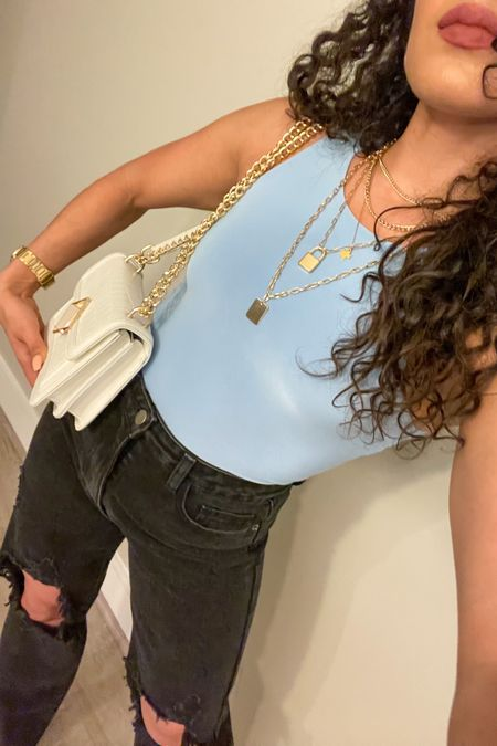 Gold layered chain necklace from Express and white shoulder bag that can be crossbody as well!!! http://liketk.it/3aY6q #liketkit @liketoknow.it #LTKstyletip #LTKitbag #LTKunder50