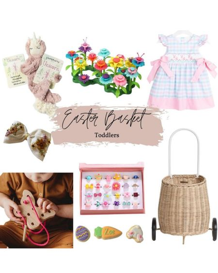 Easter basket ideas for little girls and toddler girls! I got this Ollie and Ella pull along basket for Catalina as her Easter basket Smocked bunny embroidered little girl dress Flower garden toy Wooden butterfly threading spring Easter toy Easter cookies Slumberkins unicorn  @liketoknow.it #liketkit #LTKSeasonal #LTKfamily #LTKkids http://liketk.it/3aD0C