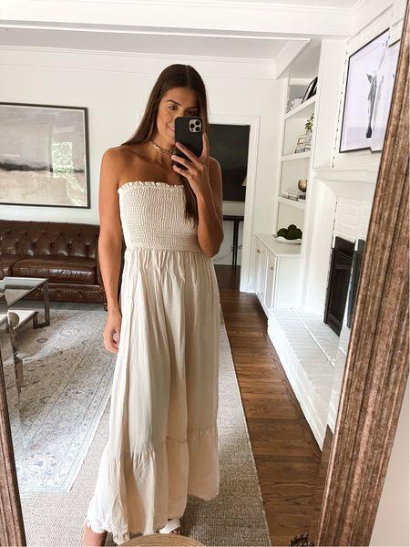 Strapless maxi dress from Amazon fashion   #LTKunder50 #LTKsalealert