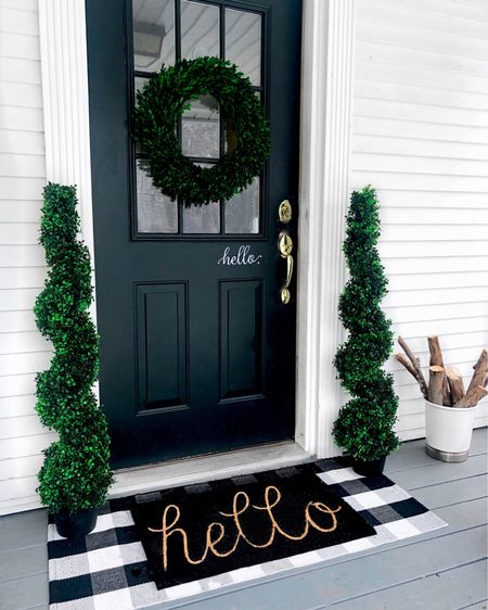 """Well, hello there! Delighted you're here! 🏠 . Updated the front porch space (yep- during the Cleveland snowstorm 🤷♀️) to update the vibe. I'm happy with how fresh & classic it looks... and how we stayed within budget! . How do you decorate your front door space? And how often do you update it? . .  Screenshot this pic to get """"Glam_Karen"""" shoppable product details with the LIKEtoKNOW.it shopping app!  @liketoknow.it #liketkit #StayHomeWithLTK #LTKhome #LTKunder50 http://liketk.it/2N7Tr"""
