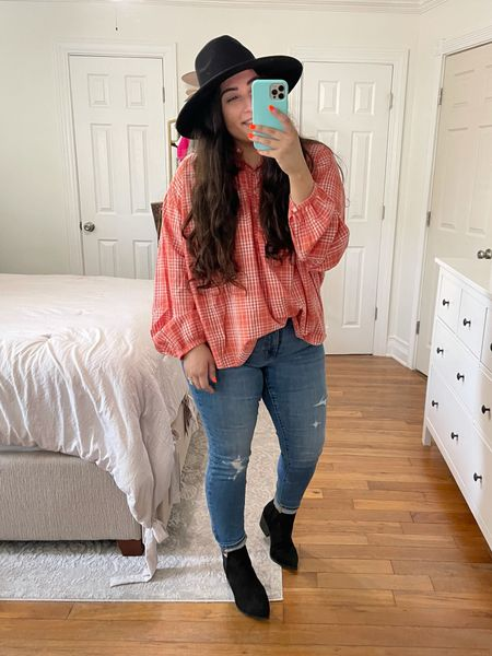 Target fall outfits, booties, jeans for curvy girls, fall outfit inspo, plaid top  #LTKunder50 #LTKsalealert #LTKshoecrush