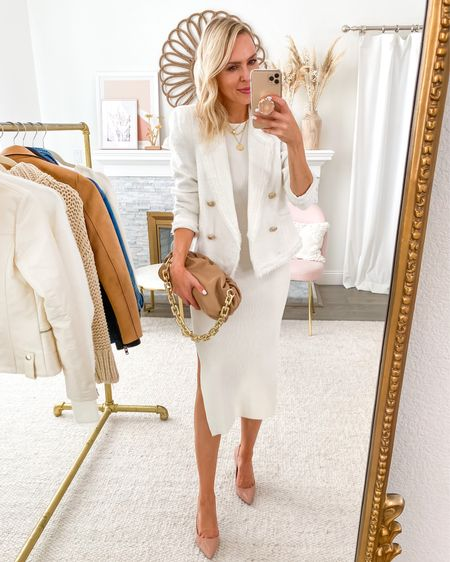 Featuring this versatile ribbed white dress in today's Friday Five, with this winter white workwear look. Loooove a white blazer! http://liketk.it/2VpAd #liketkit @liketoknow.it #LTKsalealert #LTKstyletip #LTKunder100