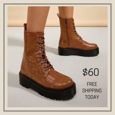 Croc embossed lace up combat boots  #LTKunder100 #LTKstyletip #LTKshoecrush