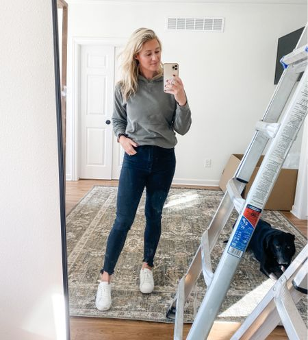 I don't care what Gen Z says, I'll always love my skinny jeans! And these are the BEST and on clearance!! The ultra high rise just sucks it all in (and all the postpartum mamas celebrate 🎉). This hoodie is old but available in a ton of new colors! It's my favorite fall layer. And size down in the kicks.   #skinnyjeans #jeans #blackjeans #clearance #sale #hoodie #fall #layers #whitesneakers #postpartum #momlife #momstyle #ootd #outfit #sneakers #casual   #LTKSeasonal #LTKstyletip #LTKunder100