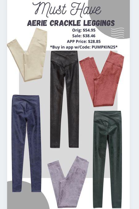 Aerie crackle leggings Faux leather leggings  #ltkfall #ltkunder30   #LTKstyletip #LTKsalealert #LTKSeasonal