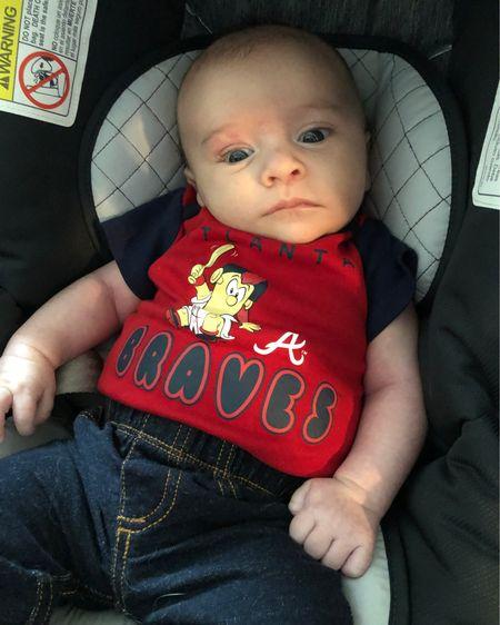 Baby Atlanta Braves baseball onesies. 3 for $22. http://liketk.it/3eZ5j #liketkit @liketoknow.it #LTKbaby