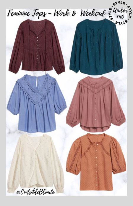 Feminine tops for work and weekend Peasant tops Fall tops  Old navy tops Old navy blouses  Embroidered tops  #LTKstyletip #LTKunder50 #LTKworkwear