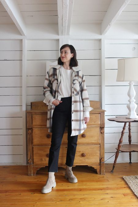 A recent look on the Style Journal.  Plaid Jacket - Frank & Oak - Last season, new version linked - Use LEE15 for 15% Off (limited time) Everyday Sweater- Jenni Kayne - TTS - Use LEE15 for 15% Off (anytime ) Jeans - old - Similar linked Boots - Maguire - Similar linked     #LTKSeasonal