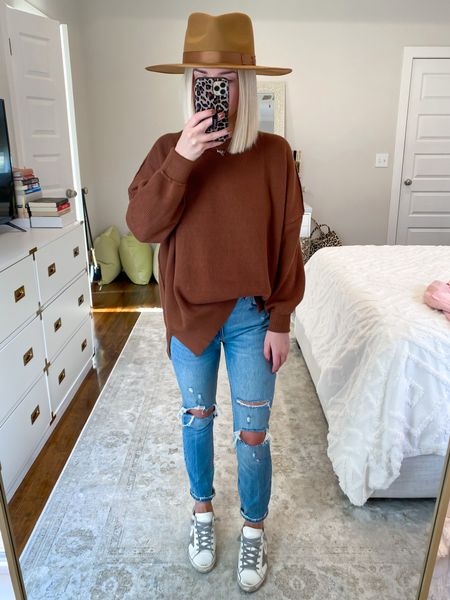 Free People sweater dupe Free People inspired Amazon finds Chocolate brown sweater Size: SM   #LTKunder50 #LTKSeasonal #LTKHoliday