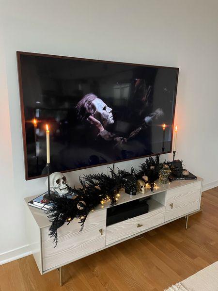 Halloween decor spooky home decor skulls Frame TV candlesticks black garland   #LTKSeasonal #LTKstyletip #LTKunder50