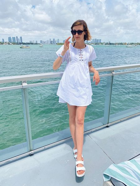 Pool outfit for my Miami vacation in a slide sandals under $50! #poolslides #sandals   #LTKswim #LTKunder50 #LTKshoecrush