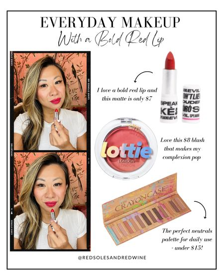 Everyday makeup with a bold red lip, affordable makeup, Walmart makeup   @walmart #walmartbeauty #ad  #LTKbeauty #LTKunder50