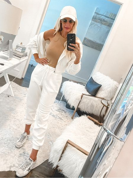 SALE ALERT! Love this comfy and chic jogger set that's 50% off making both pieces under $50 - they both run tts I'm wearing an xs in both    #LTKsalealert #LTKunder100 #LTKunder50