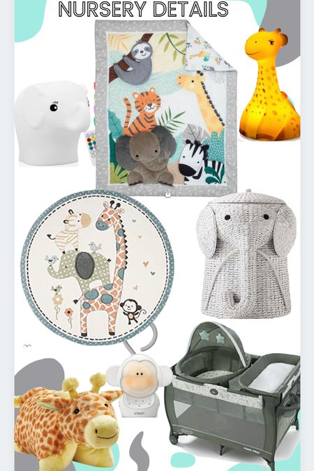 Jungle Animals Nursery Decor  #babyroom #babydecor #nursery #rug #laundrybasket #nightlight  #LTKhome #LTKfamily #LTKbaby